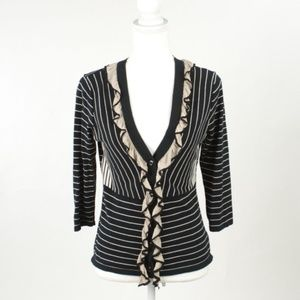 Cabi Striped The Flirt Ruffled Cotton Cardigan